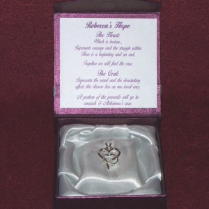 Rebecca's Hope Alzheimer's Awareness Pendant in box 2 Gardiner's Jewelry
