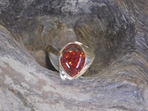 Gold Orange Sapphire Ring 2 Gardiner's Jewelry Sales and Repair